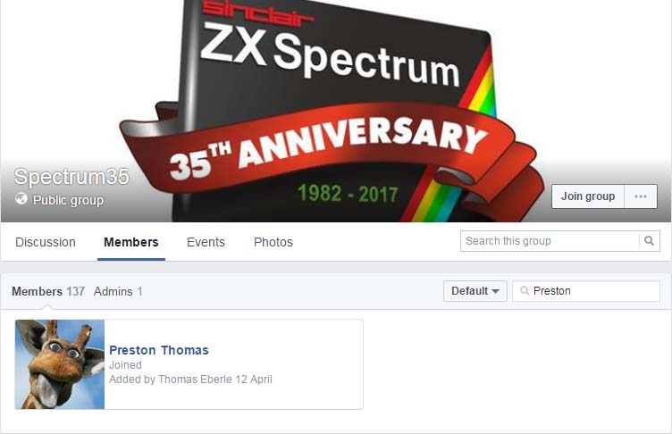 Preston still in Spectrum35 facebook group