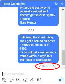Evidence that Retro Computers Ltd views Gary Hunter's refund request