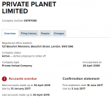 Overdue accounts for Private Planet Ltd