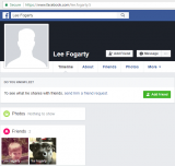 Facebook profile lee.fogarty.5 shows Lee Fogarty as a friend