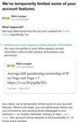 Nick Cooper's twitter account locked