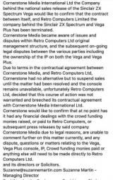 Cornerstone Media International suspend sales of the Vega