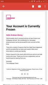 Graham Kenny's Indiegogo account frozen