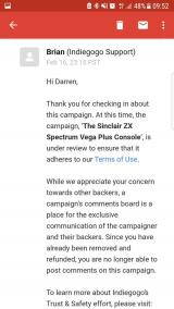 Darren Randle blocked from commenting on Vega+ Indiegogo campaign