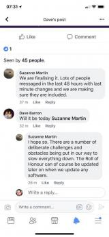 Suzanne Martin says roll of honour can be updated in software at any time