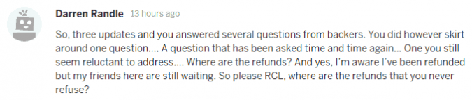 Darren Randle asks where are the refunds?